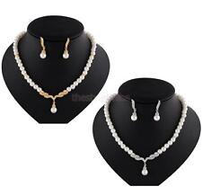 Bridal Bridesmaid Wedding Party Pearl Rhinestone Necklace Earrings Jewelry Set