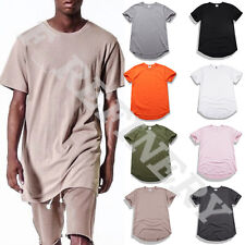 Mens Solid Cotton Short Sleeve Under Scoop Casual Basic Tees T-Shirt Tops