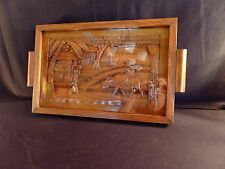 Vintage Large Hand Carved Wooden Tray W/Glass Top- Folk Art Beauty!
