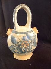 Beautiful Vintage Mexican Folk Art Wedding Vase - Handcrafted Clay Two Spout Jug