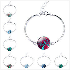 Hot New infinity One Direction Charms Glass Dome Tree Pendant Bangle Bracelet