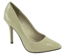 Delicious Women Slip High Heels Pointy Toe Pumps Formal Shiny Beige Patent DATE