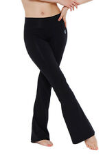 Green Apple Bamboo Fitted Yoga Flare in Black