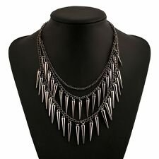 Spike Pendant Tassel For Girls Ladies Vintage Punk Rivet Multilayer Necklace