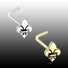 Golden Fleur De Lis L Shaped Nose Ring 20g 7mm Silver Body Jewelry Flower Sexy
