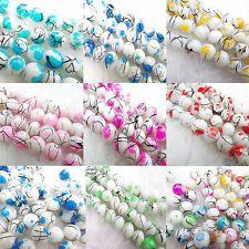 20Pcs/50pcs  LampWork Water Ripple Crystal Glass Round Loose Spacer Beads 8MM