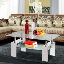 2 Tier High Gloss Clear Glass Top Rectangular Coffee Table Dinner Office Home