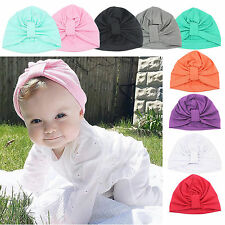 Lovely Bohemian Baby Kids Soft Hat Knot Cotton Beanie Cap Hat 1-6Y