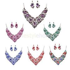 Wedding Party Bridal Rhinestone Pendant Necklace Earrings Statement Jewelry Set