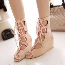 Simple Womens Synthetic Leather Lace Up Med Heels Wedges Open Toe Sandals Shoes