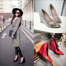 Awesome Faux Suede Rhinestone Slip On Platform Wedge Heel Womens Pumps Shoes Hot