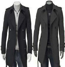 Hot Mens UK Long Style High Quanlity Woolen Trench Coat Casual Windcoat M128