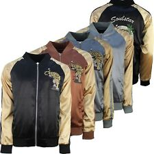 Mens Reversible Bomber Jacket Soulstar Sateen Tiger Embroidery Fashion Coat New