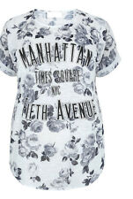 New YOURS Grey NYC Floral Rose Top T-Shirt PLUS Size 18 20 22-24 26-28 LOOK Be