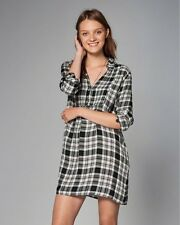 NEW Abercrombie & Fitch Plaid Check Shirt Dress Tunic S M $68 White Navy
