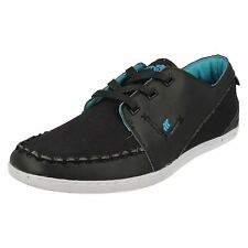 Boxfresh Keel Combo Men's Black/Blue Leather Casual Moccasin Shoes