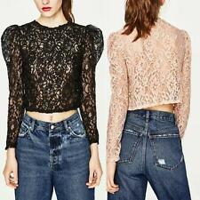 Womens Hollow Out Lace Bubble Sleeve Cropped Blouse Shirt Top