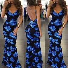 Women Maxi Dress V-Neck Sleeveless Backless  Neck Floral Print  Maxi Dresses