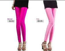 Tights Pants High Waisted Womens Footless Candy Colors Shiny Disco