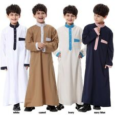 Unisex Boys Girls Saudi Thobe Thoub Robe Daffah Dishdasha Islamic Arabian Kaftan