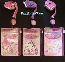 Sanrio Retractable Lanyard 2 Slot +Zip Bag Pass Case Credit ID Card Badge Holder