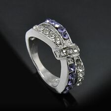 Cross Purple Amethyst Crystal Jewelry 6-10 Size Ring White Gold Filled Rings