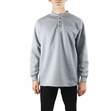 Maxxsel Mens Long Sleeve Thermal 3 Button Down Henley Sherpa Heavy Lined Shirt