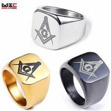 Freemasons Masonic Polished Stainless Steel Mens Ring Mens Jewelry Band Sz 8-12