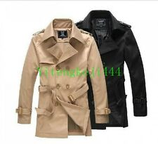 Hot Mens Casual Jacket trench coat Belted khaki black outwear peacoat parka New