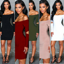 Women Sexy Long Sleeve Off Shoulder Hollow Out Package Hip Evening Mini Dress