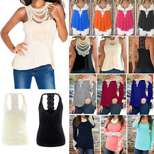 Womens Sexy Lace Crochet T-Shirt Tank Vest Tops Ladies Casual Loose Tee Blouse