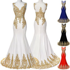 Women Formal Ball Gown Party Prom Golden Appliques Evening Dress Size US 2~16