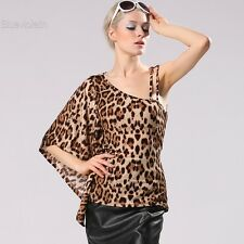 Sexy Women One-shoulder Batwing Sleeve Leopard Blouse Slim Shirt Club Tops BLLT
