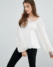 NEW Free People Moonchaser Peasant Top Shirt Blouse S M Ivory $128 NWT