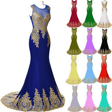 GK Golden Long Applique Pageant Ball Evening Party Prom Bridal Gown Dress Formal