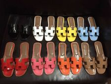 Women's Square Toe Patent Leather Cowhide Flats Shiny Sandals 8 Color Size 5-12