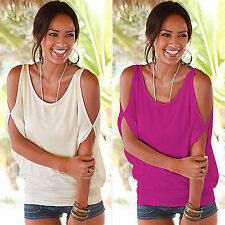 Sexy Womens Summer Off Shoulder T-Shirt Tee Loose Casual Tops Blouse UK 6-16