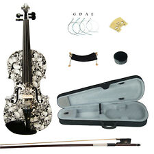Kinglos 4/4 Full Size Colored Ebony Fitted Solid Wood Violin Kit Black White