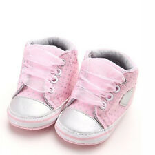 Pink Baby Sneakers Newborn Baby Crib Shoes Girls Toddler Laces Soft Sole Shoes