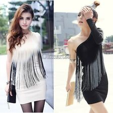 Fashion Women Tassel Peacock One Off Shoulder Long Sleeve Cocktail Party OK01