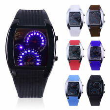 Mens Sports RPM Turbo Blue Flash LED Sports Car Meter Dial Watch Wristwatch FY