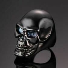Size 8-12 Polished Skull Head Punk Biker Mens Ring Gothic Stainless Steel Band