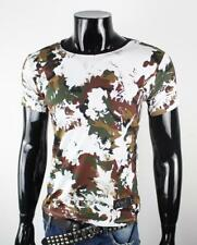 100% Cotton Men's OFF Short Sleeves Casual Camouflage Cotton White T-Shirt/Top