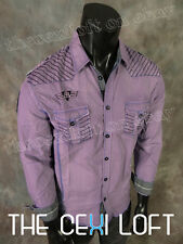 NEW Mens ROAR Button Shirt ACES HIGH in Light Purple Wash Military Style