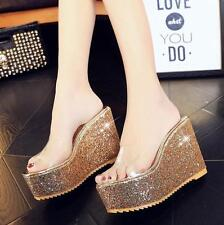 Hot Womens Clear Platform Shoes Peep Toe Sequins Wedge High Heels Slippers New Y