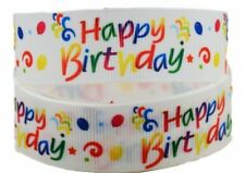 "HAPPY BIRTHDAY 1"" Wide Repeat Ribbon Sold By The Yard - USA Seller"