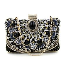 Vintage Women Crystal Beaded Evening Clutch Bag Cocktail Purse handbag Black