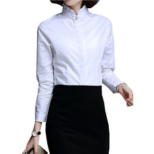Women Cotton Long Sleeve Slim Blouse Lace Stand Collar Office OL Girl Shirt Top