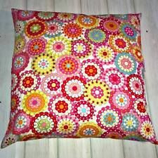 Multi Coloured Retro Flowers on Pale Cream Floral Cushion Cover 16 to 30inch .