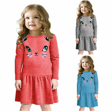 Fashion Kid Girl Cartoon Cat Print Long Sleeve Party Dress Casual Pleated Dress